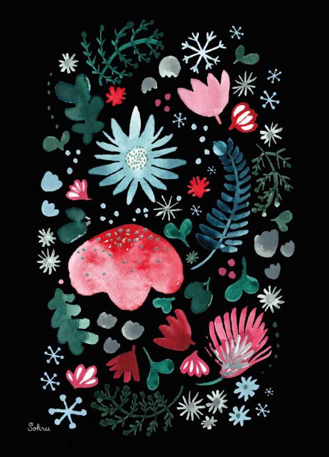 Sokru • Joulukortti Kukka Musta