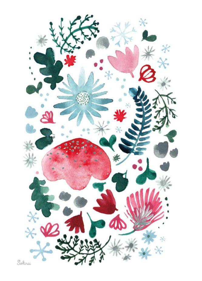 Sokru • Joulukortti Kukka Valkoinen