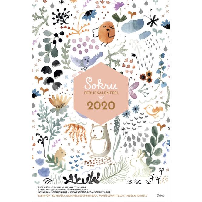 Sokru • Sokru 23x34 Perhekalenteri 2020 Kansi Nelio