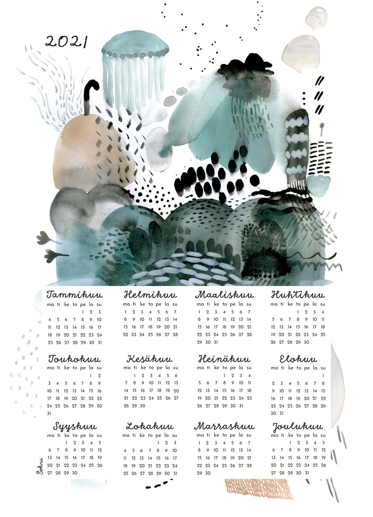 Sokru • Kalenterijuliste 50x70 Cm 2
